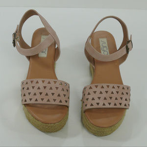 SUGAR platform cork and cut out strappy sandals 8M